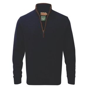 Lambswool Aerobloc 1/4 Zip Navy