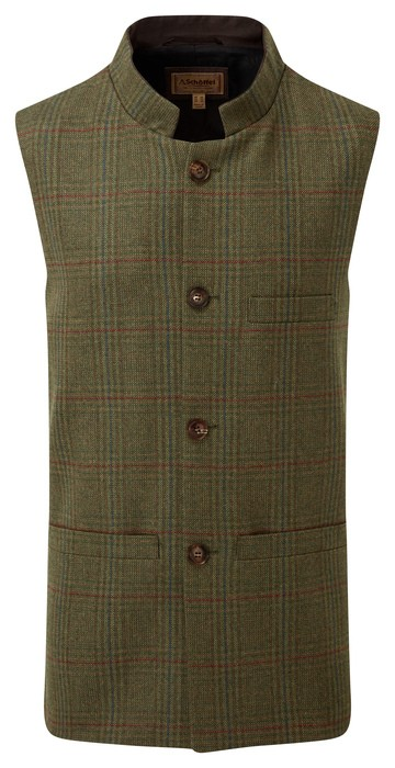 Schoffel Country Nehru Tweed Waistcoat Buckingham Tweed