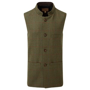 Schoffel Country Nehru Tweed Waistcoat in Buckingham Tweed