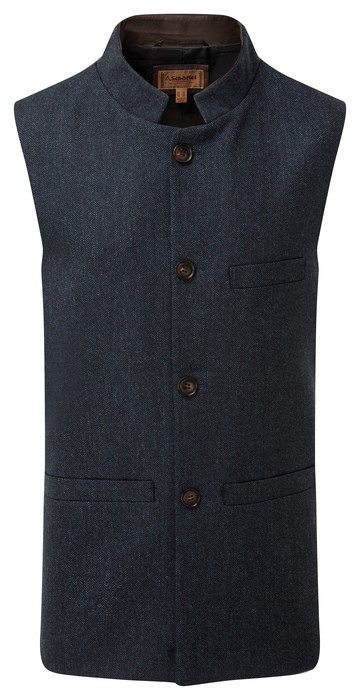 Schoffel Country Nehru Tweed Waistcoat Navy Herringbone Tweed