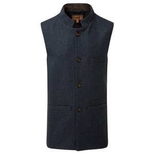 Schoffel Country Nehru Tweed Waistcoat in Navy Herringbone Tweed