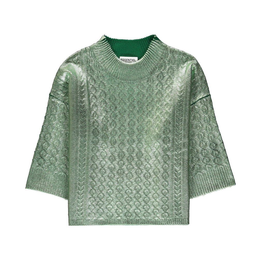 Essentiel Antwerp Varadero Cable Foil Sweater Mentos Mint