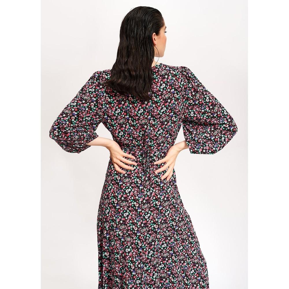 Essentiel Antwerp Vip Mini Flower Wrap Dress Black/Multi
