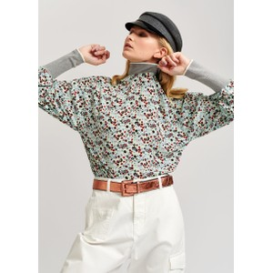Vocal Floral Rib Colour Cuff Top Mentos Mint/Multi