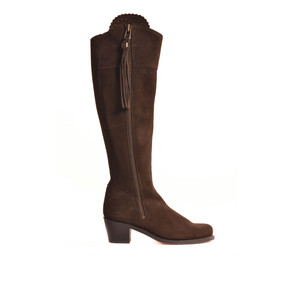 The Heeled Regina Suede Boot Chocolate