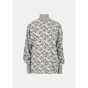 Essentiel Antwerp Vocal Floral Rib Colour Cuff Top Mentos Mint/Multi