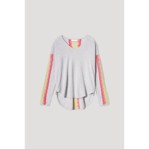 Evie Rainbow Curved Hem Jumper 1 Cloud