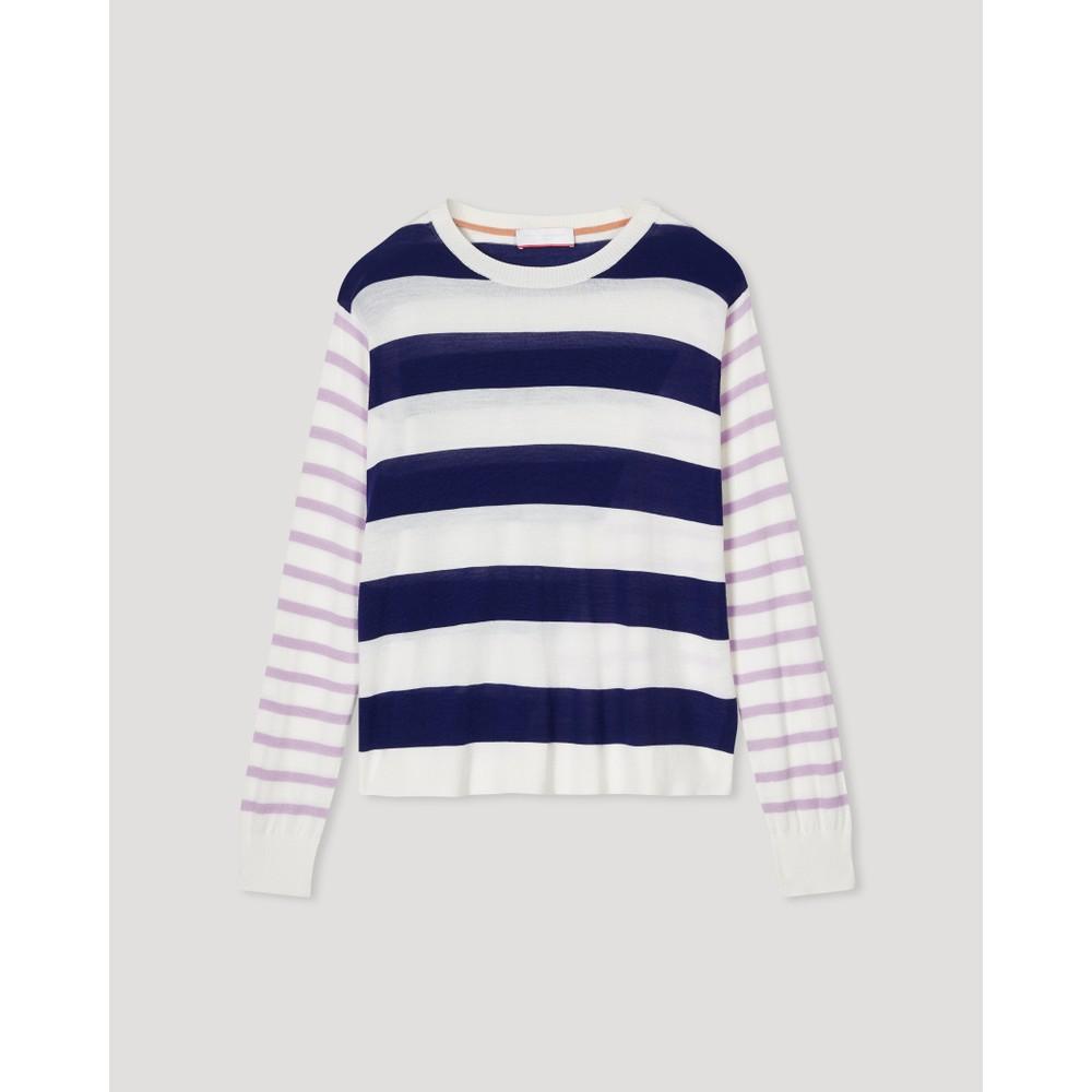 Cocoa Cashmere Alexa Button Back Stripe Jumper Navy/Cream /Lilac