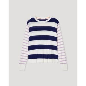 Alexa Button Back Stripe Jumper Navy/Cream /Lilac