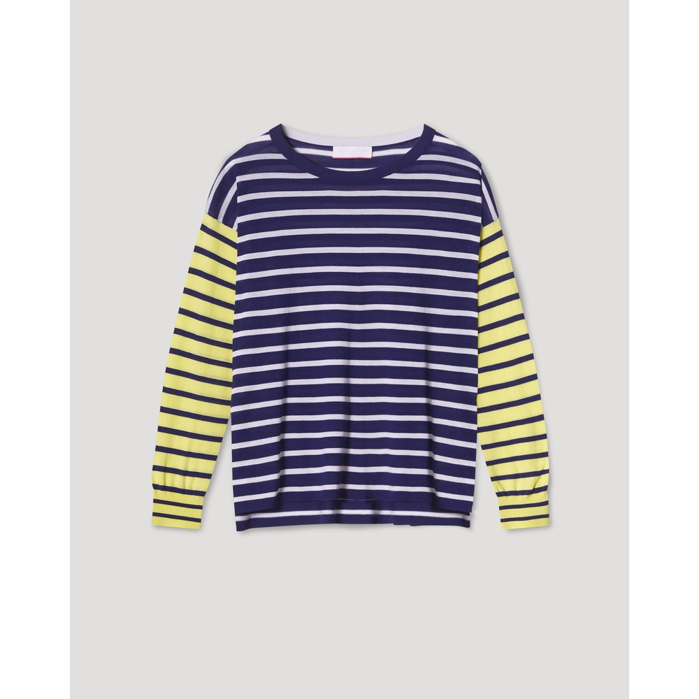 Cocoa Cashmere Katja Striped Boxy Jumper Navy/Cream/Lime