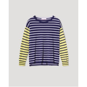 Katja Striped Boxy Jumper Navy/Cream/Lime