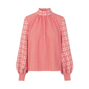 Eddy Hi Nk Check Blouse Coral/White