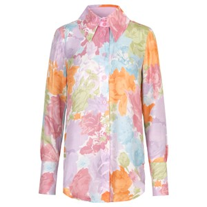 Stine Goya James Rose Silk Shirt Rosegarden Pastel