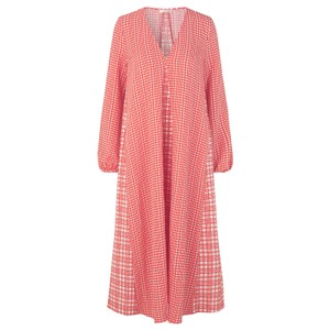 Leila V/N Check Dress Coral/White