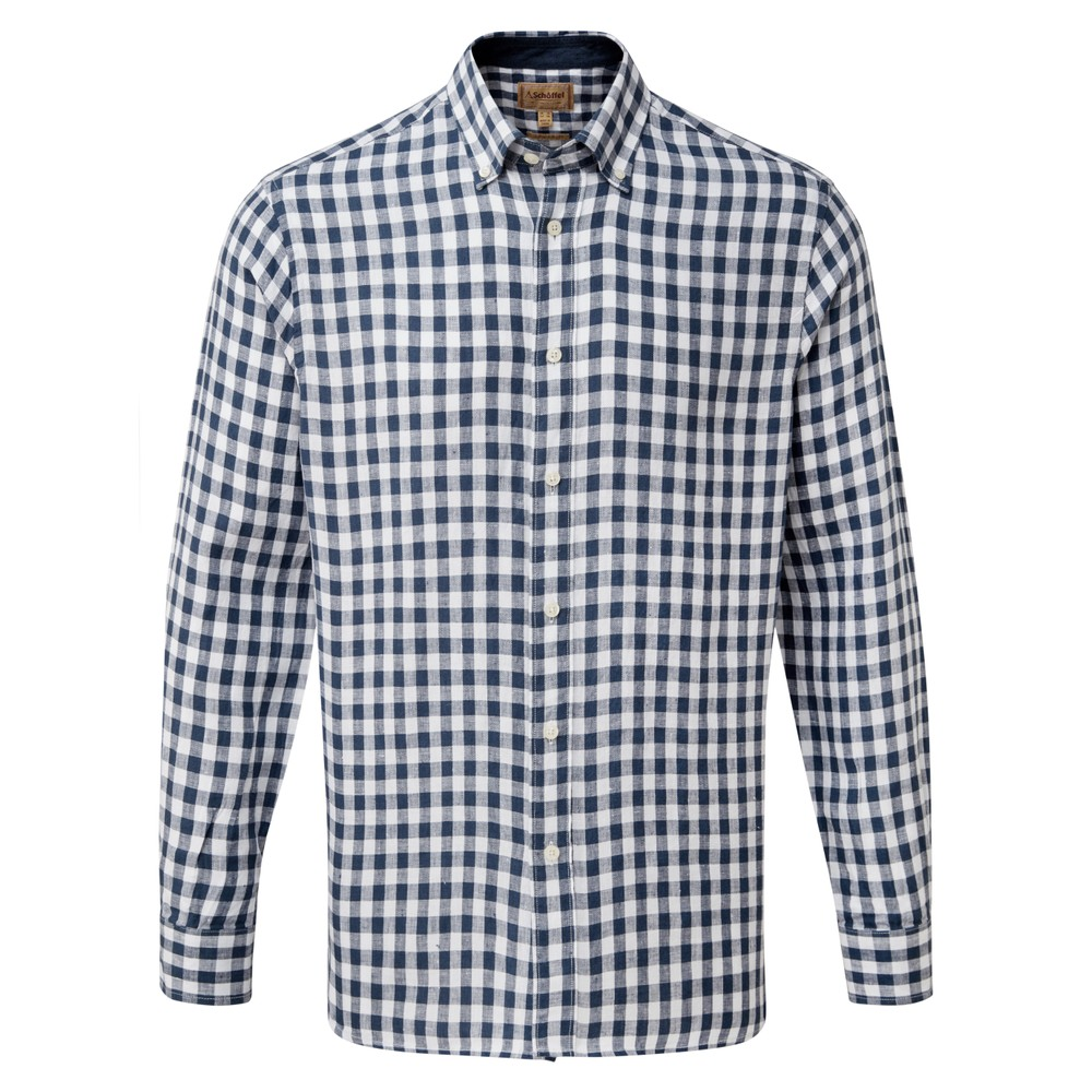 Schoffel Country Sandbanks Linen  Shirt Navy Check