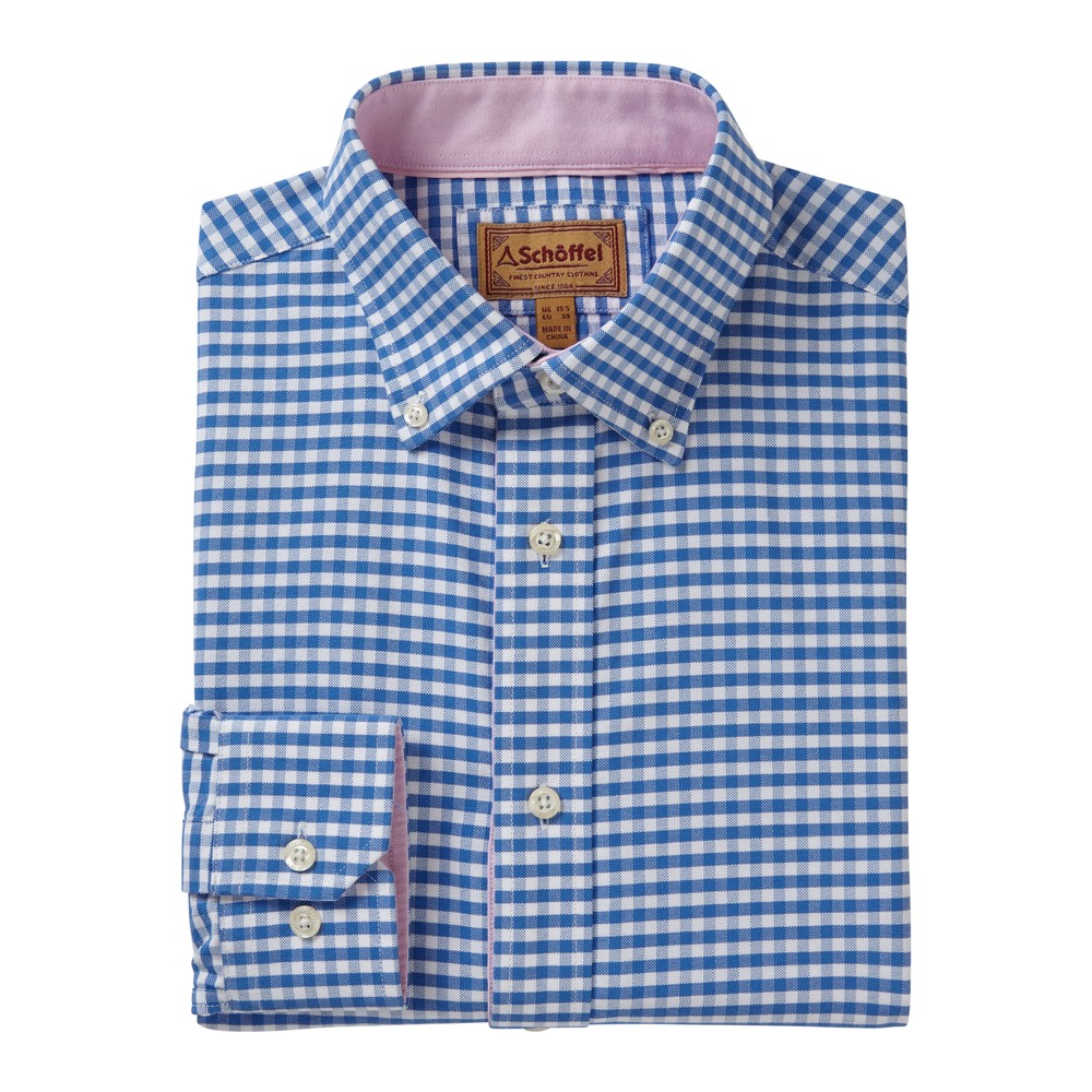 Schoffel Country Soft Oxford Shirt Pale Blue Gingham