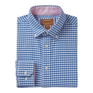 Schoffel Country Soft Oxford Shirt in Pale Blue Gingham