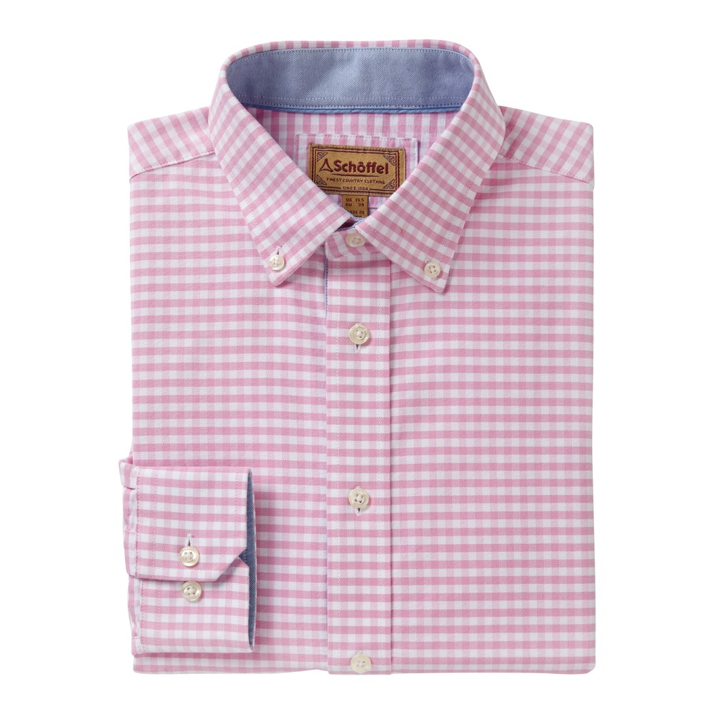 Schoffel Country Soft Oxford Shirt Pale Pink Gingham