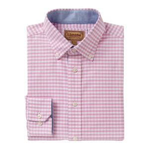 Schoffel Country Soft Oxford Shirt in Pale Pink Gingham