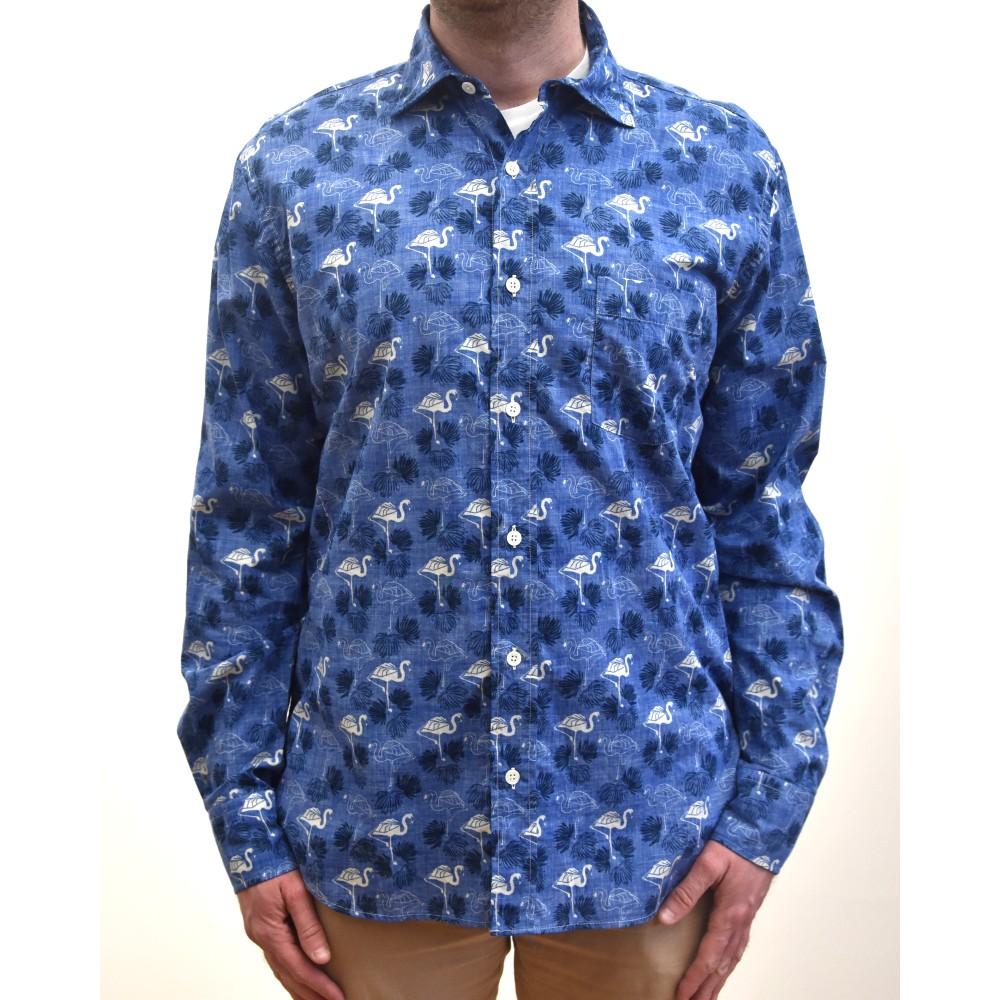 Hartford Paul Flamingo Shirt Blue/White
