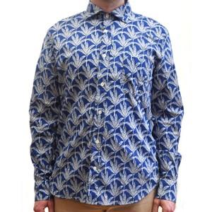 Palm Leaf Cotton Shirt Navy/beige