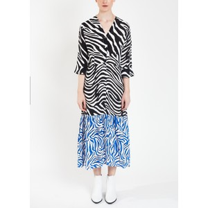 Adele Zebra Print Tired Dress Black/Blue