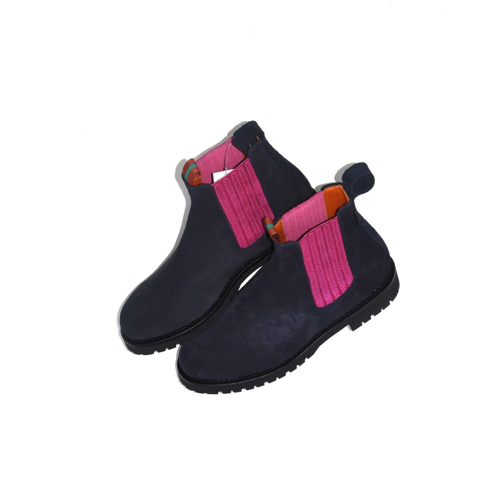 Penelope Chilvers Oscar Suede Boot Navy/Fuchsia