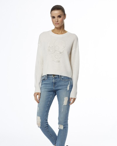 360 Sweater Jamie 3 Skull Stitched Jumper White/Heather Grey