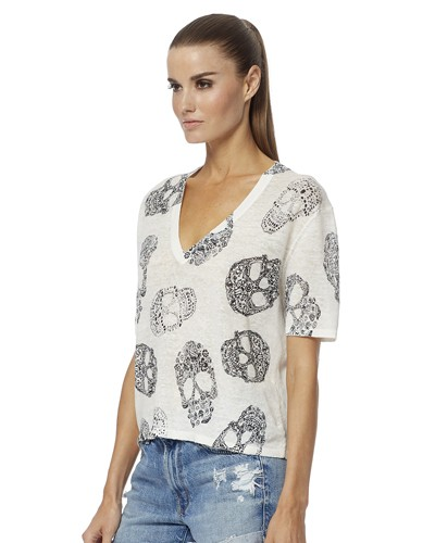 360 Sweater Rima Printed Skull S/S Top White/Charcoal