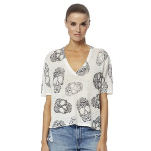 Rima Printed Skull S/S Top White/Charcoal