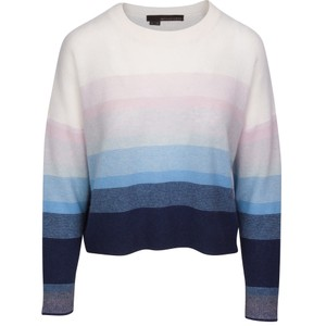 360 Sweater Russet Stripe Short Jumper Navy/Capri Blue Ombre/Multi