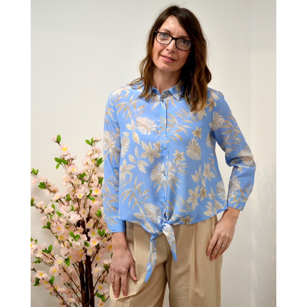Marella Tortona Floral Silk Blouse Pale Blue/Beige