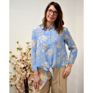 Tortona Floral Silk Blouse Pale Blue/Beige