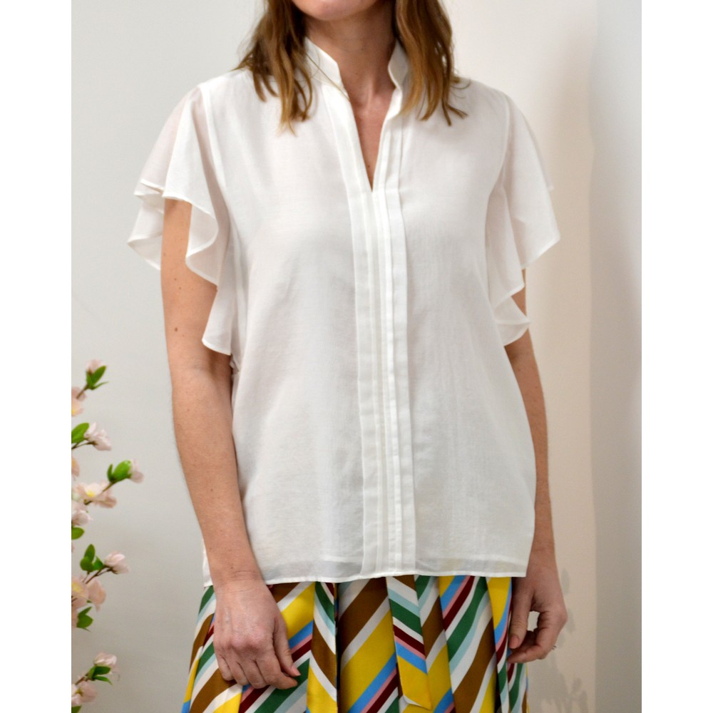 Marella Baco Flutter Sleeve Blouse White
