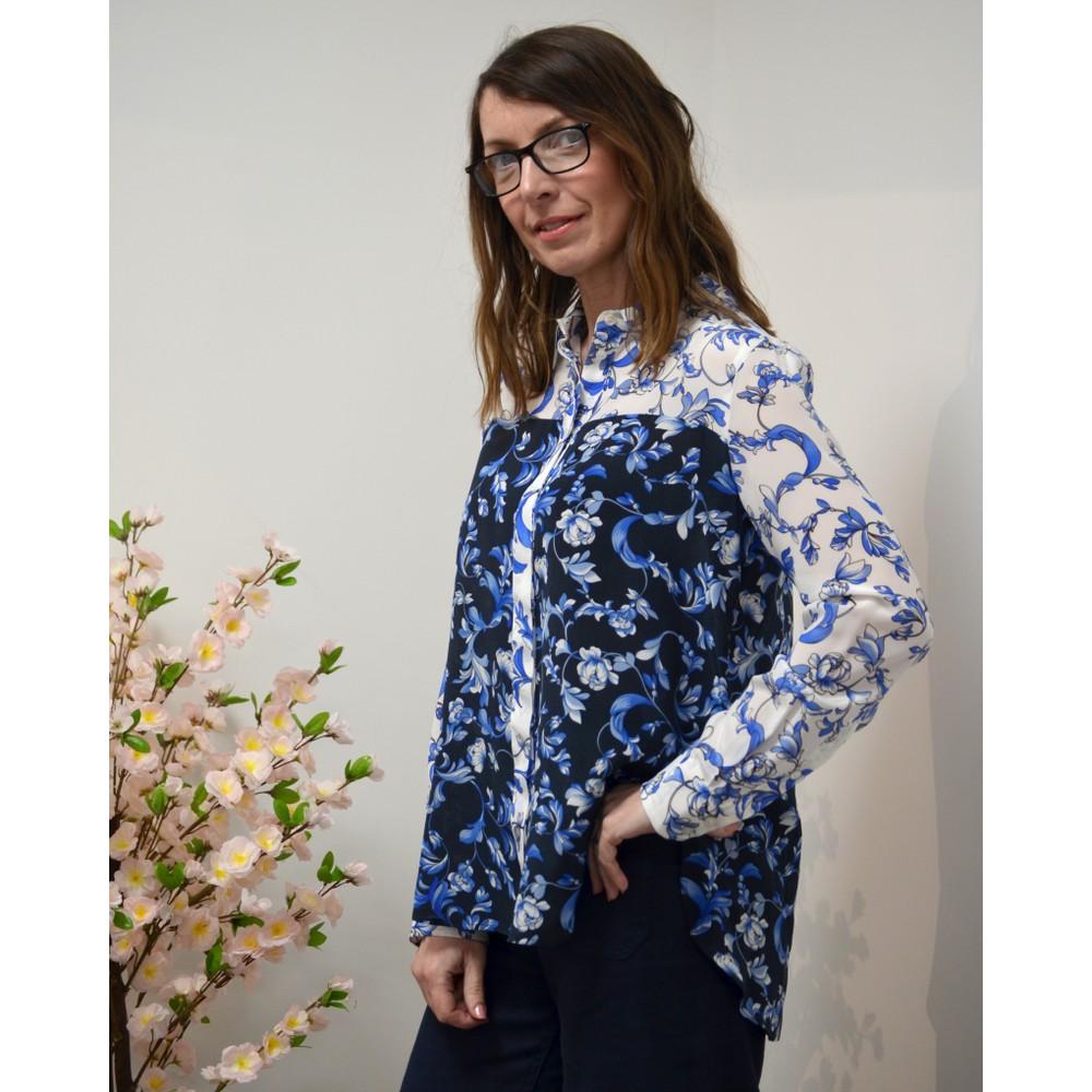 Marella Lupino Block Col Floral Shirt White/Blue