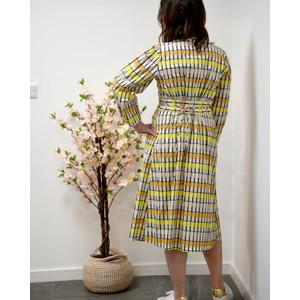 Baum Und Pferdgarten Abylene L/S Check Wrap Dress Peach/Yellow/Black