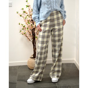 Baum Und Pferdgarten Nyo Check Wide Leg Trouser Cream/Navy/Brown
