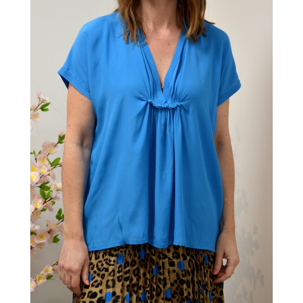 Ottod'Ame V/N Neck Cap Sleeve Blouse Azur Blue