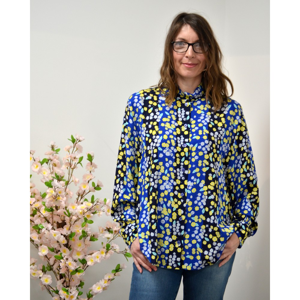Paul Smith Womens L/S Floral Shirt Cobalt Blue/Multi