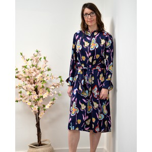 L/S Painted Flowers Dress Navy/Multi