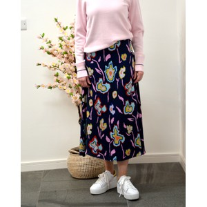 Paul Smith Womens Painted Flowers Skirt Navy/Multi