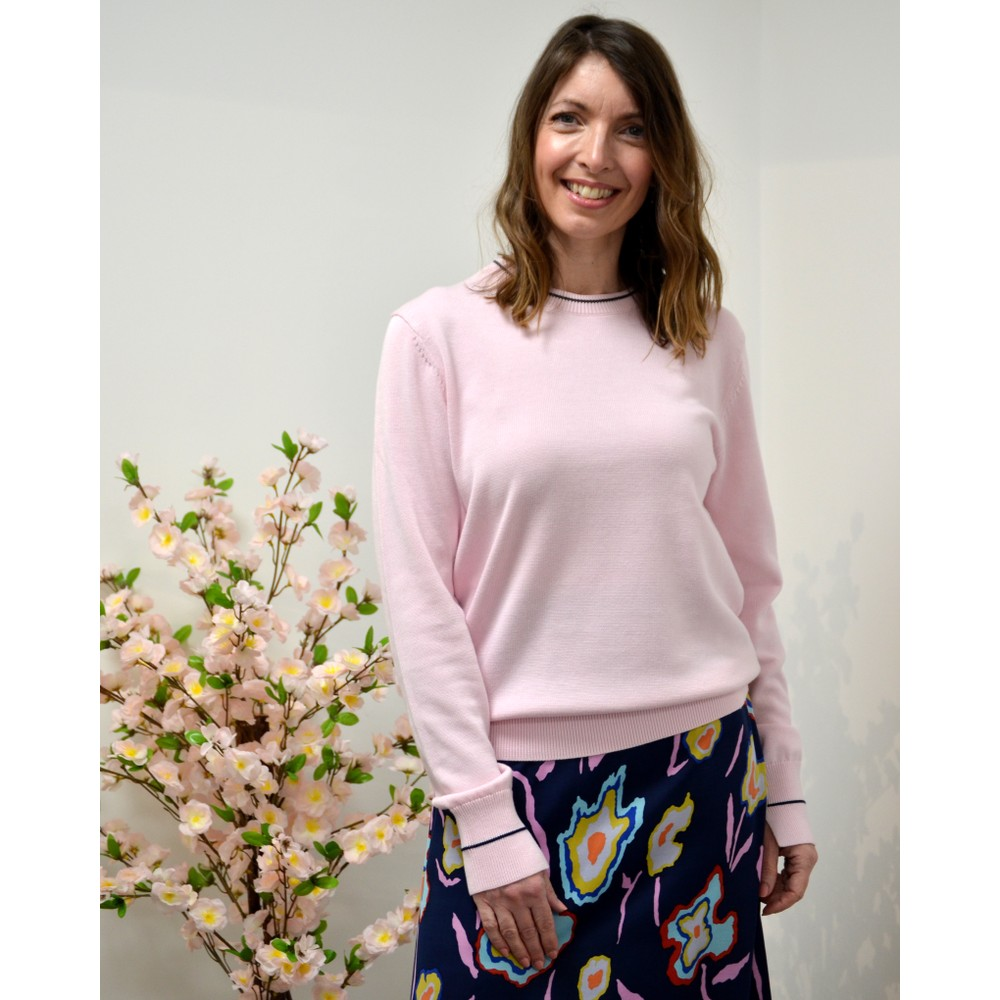 Paul Smith Womens Knitted Jumper w/Stp Trim Pink/Black