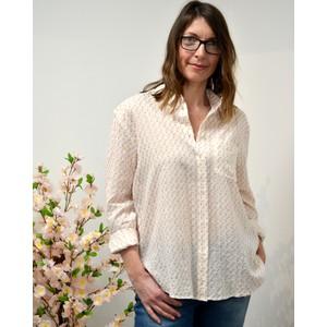 Anita Camelia Flower Shirt Off White/Gold/Red