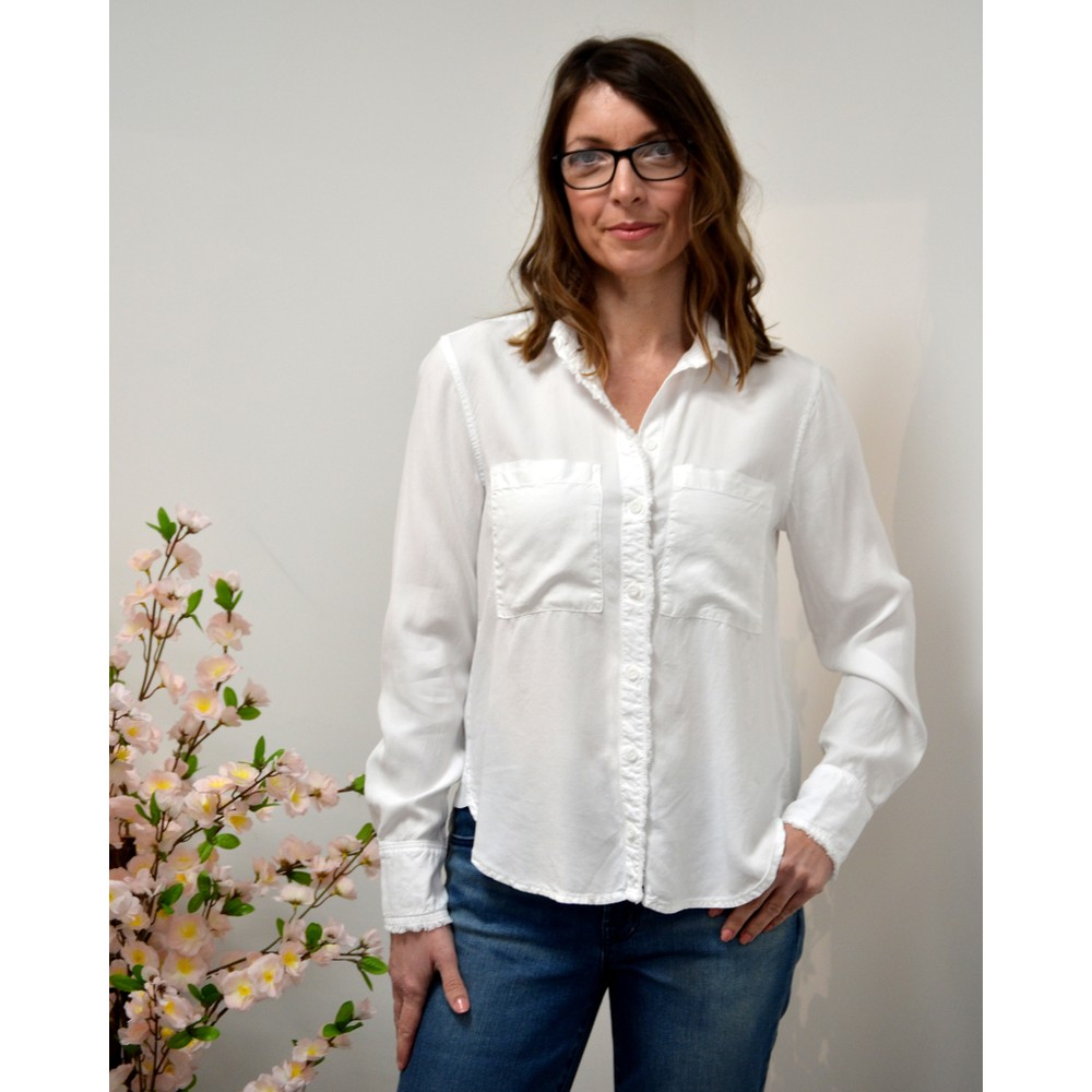 Bella Dahl Frayed Edge P/K Shirt White