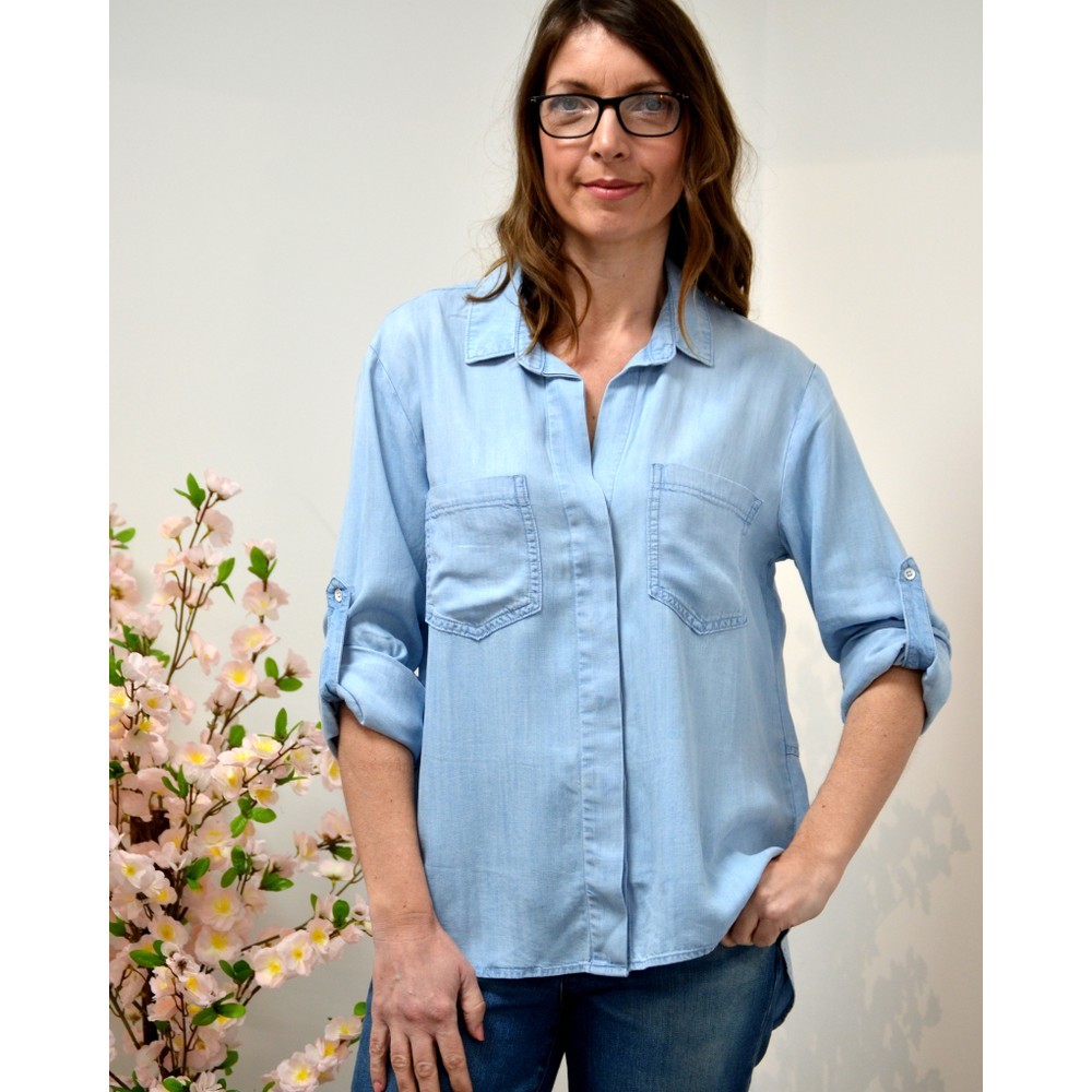 Bella Dahl Split Bk Button Down Shirt Sunbeach Wash