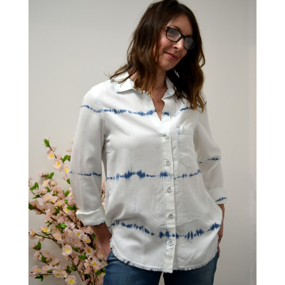 Bella Dahl Frayed Placket Shirt Tie Dye White/Blue