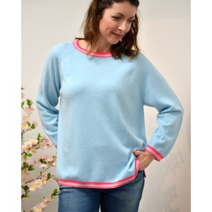 Side Split Stripe Trim Jumper Powder Blue