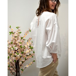 Ottod'Ame Balloon Slv Detail Nk Blouse in Off White
