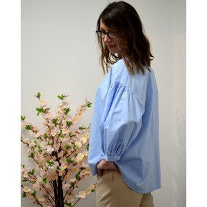 Balloon Slv Detail Nk Blouse Pale Blue
