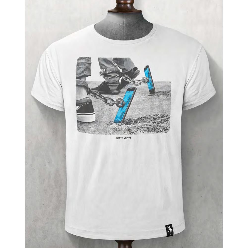 Dirty Velvet Screen Slaver T Shirt Vintage White